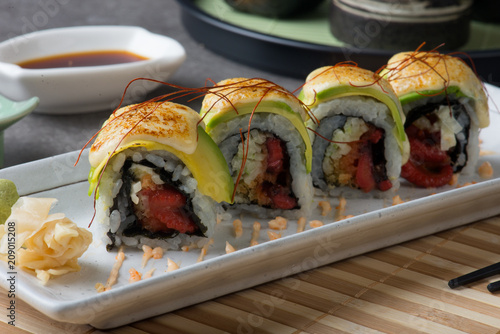 octopus roll with avocado