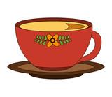 flowers decorative coffee cup ceramic on dish vector illustration - 209018047