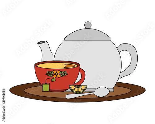 teapot and cup spoon lemon slice tea bag on tray vector illustration