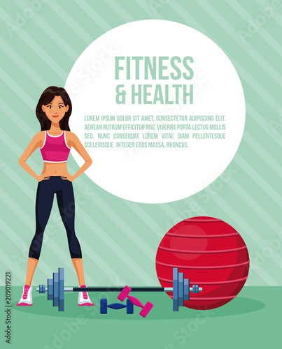 Fitness woman at city round icon cartoon vector illustration graphic design