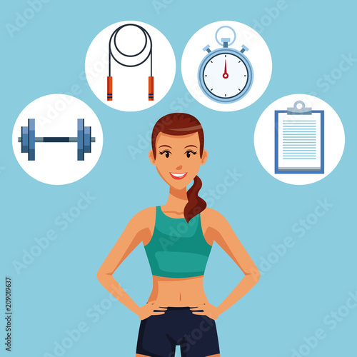 Poster Fitness woman with sport round symbols vector illustration graphic design