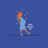 Vector greeting card with pregnant woman. Happy mother's day. - 209019887