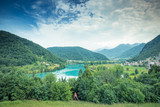 Panoramic view over Most na Soci emerald green waters,Slovenia - 209020404