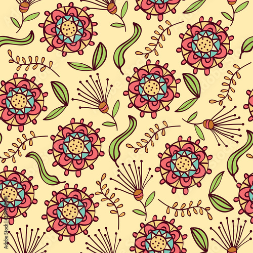 Doodle seamless pattern with flowers and leafs - 209020681