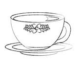 flowers decorative tea cup ceramic on dish vector illustration sketch - 209021473