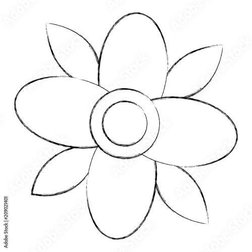 flower natural leaves decoration image vector illustration sketch