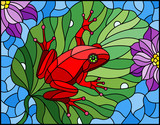 Illustration in stained glass style with abstract red frog on Lotus leaf on water and flowers - 209024225