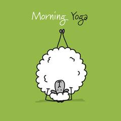 Funny sheep doing yoga, sketch for your design © Kudryashka