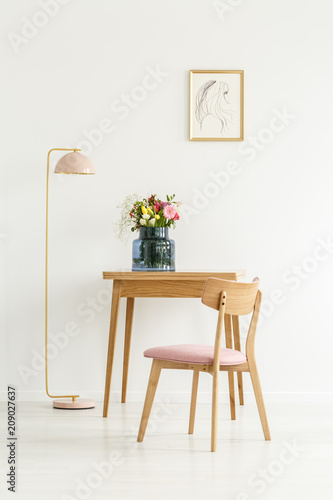 Flowers in simple white interior