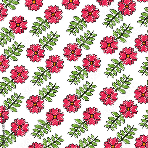 flower branch leaves nature decoration pattern vector illustration - 209028652