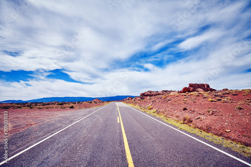 Scenic road in the Capitol Reef National Park, vintage stylized picture, Utah, USA.