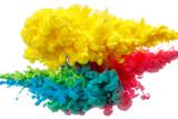 multicolor paint splash isolated on white background - 209032248