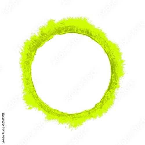 Gemalter breiter unordentlicher Umriss eines grün gelben Kreises