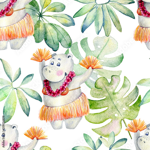 Hawaii dance, watercolor seamless pattern on white background. - 209036879