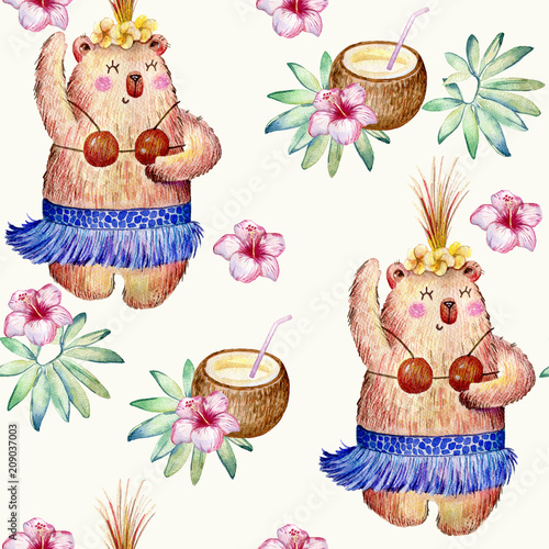 Hawaii dance, watercolor seamless pattern on white background. - 209037003