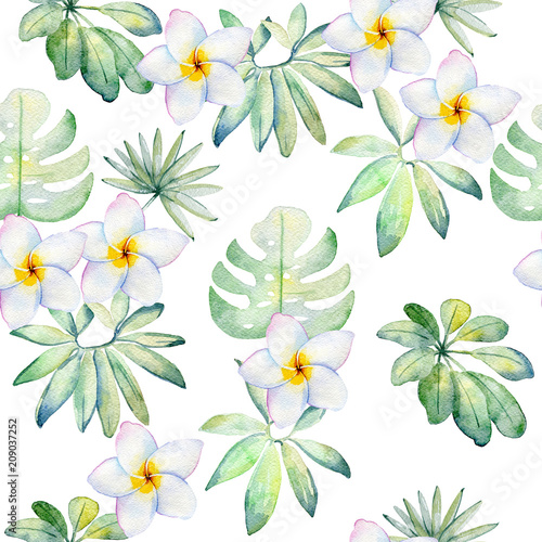 Tropical seamless watercolor pattern with green leaves and flowers. - 209037252