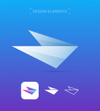 Vector airplane wing. Abstract material design, flat and line style. Origami paper