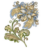 decorative vintage gold and blue flower - 209041415
