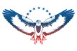 american eagle spread wings with stars vector illustration