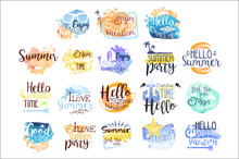 Summer Vacation Promo Signs Colorful Set Sticker