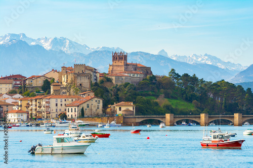 panoramic views to san vicente de la barquera traditional village at cantabria, spain