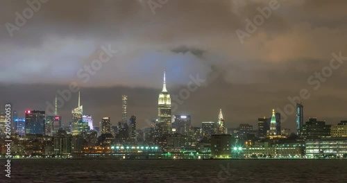 Clouds Passing Over Midtown Manhattan At Night