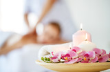 composition of spa candles and   towels - 209056028