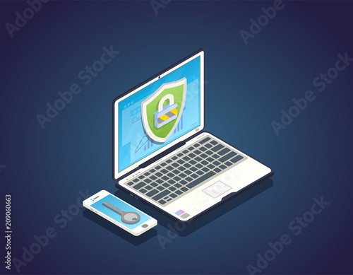Duo authentication concept. Isometric laptop with private data secured with shield and padlock. Mobile phone with key to unlock laptop. Security two step identification concept banner.