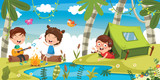 Vector Illustration Of Kids Camping - 209061413