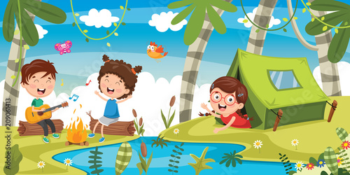 Vector Illustration Of Kids Camping