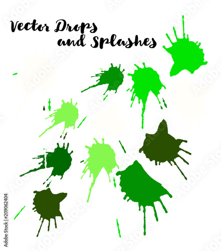 Green Vector Splashes, Hand Painted Watercolor Bang. Indian Holi Color Festival, Paint Burst, Water Splash. Green Vector Craft Logo Element, Holi Paint Burst. Uneven Texture Graffiti Shapes, Buttons.