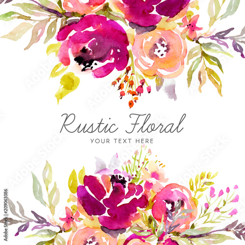 Rustic marsala background with watercolor flowers - 209063086