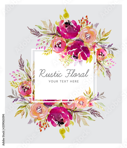 Rustic marsala background with watercolor flowers - 209063094