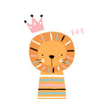 Cute lion girl with pink crown. Vector hand drawn illustration.