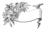 Lily flowers hand drawing vintage clip art with banner and bird