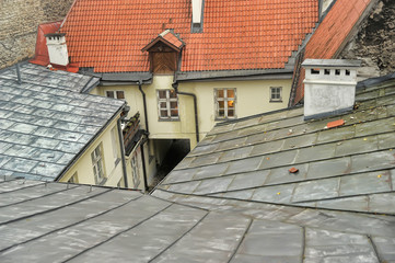 Roof and courtyard well