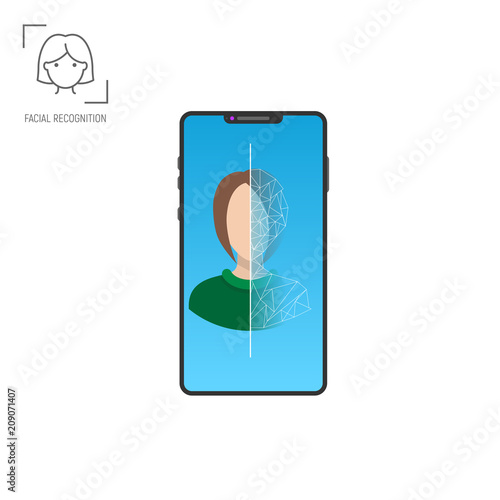 Face recognition application. Facial scanner and identification of person. Biometric security mobile technology. Modern mobile phone with woman face and identification process on screen.