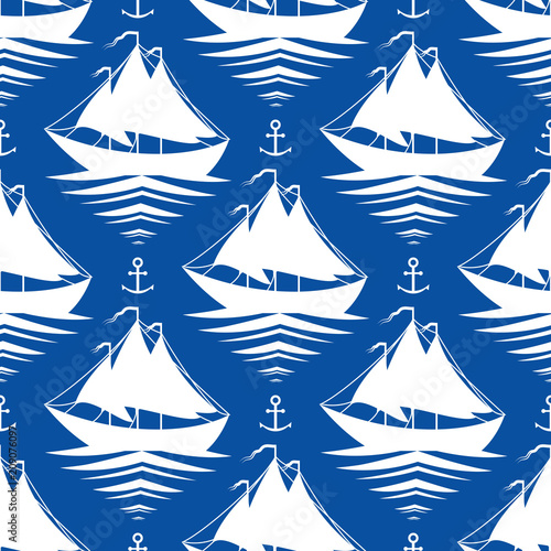 Seamless pattern with sailboats and anchors - 209076097