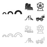 Ferris wheel with ladder, scooter. Playground set collection icons in black,outline style vector symbol stock illustration web. - 209080429