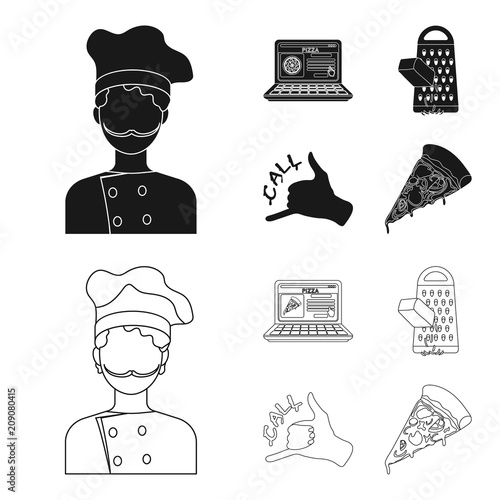 Cook, order by phone, grated cheese, ordering a face gesture.Pizza and pizzeria set collection icons in black,outline style vector symbol stock illustration web.