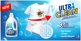 Stain remover, laundry detergent, ad vector template. Ads poster design on blue background with white t-shirt and stains