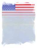 The United States of America FLAG on Original Vintage Paper, isolated on White Background, particular gradient edges and space for your Text - 209087622