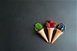 Three natural icecream cones - 209088045