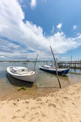 CAP FERRET (France), bateaux traditionnels du Bassin d'Arcachon appelés 'pinasses'