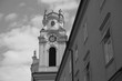 black and white clock tower