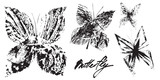 Set of  vector butterflies. Hand drawing black and white silhouettes with monotype effect