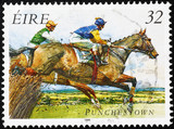 Horse race on irish postage stamp