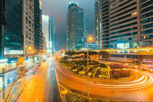 Hongkong cityscape traffic at night