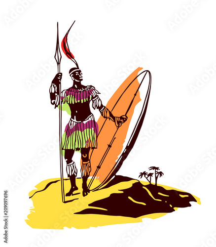 tribal warrior with spear and shield on white background and desert