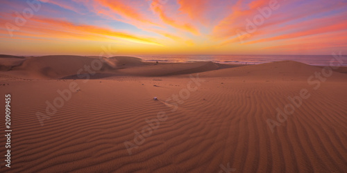 Leinwanddruck Bild Famous natural park Maspalomas dunes in Gran Canaria at sunrise, Canary island, Spain